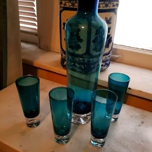 Cobalt blue decanter set
